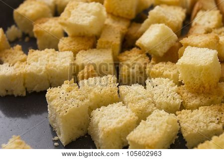 Bread Crackers On A Baking Sheet