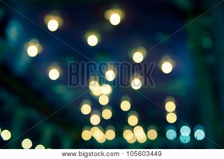 Defocused Abstract Bokeh Blur Of Orange Light In The Dark  Background