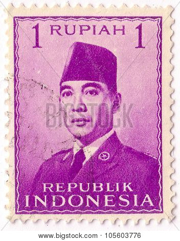 Indonesia - Circa 1951: A Stamp Printed In The Indonesia, Shows The First President Of Indonesia, Su
