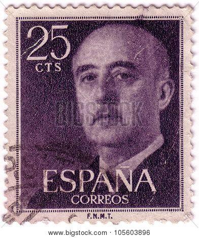 Spain - Circa 1954: A Stamp Printed By Spain, Shows Franco, Circa 1954