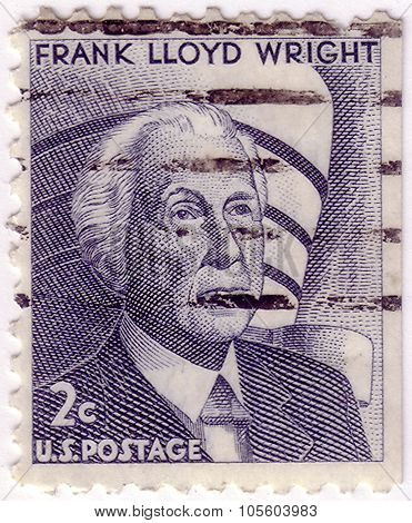 Usa - Circa 1966: A Stamp Printed In The Usa, Shows A Frank Lloyd Wright And The Guggenheim Museum,