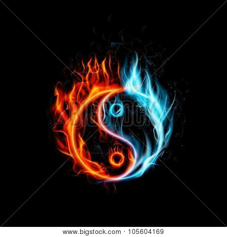 Fire burning Yin Yang with black background