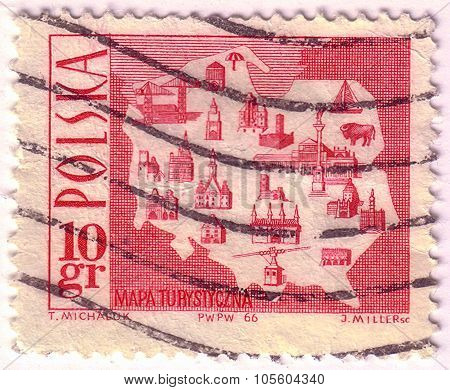 Poland - Circa 1966: A Stamp Printed In Poland Shows A Map Showing Tourist Attractions, With The Sam