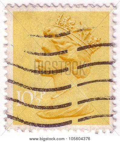 United Kingdom - Circa 1971: A Postage Stamp Printed In The United Kingdom Shows Queen Elizabeth Ii