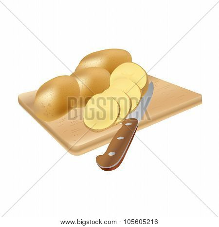 raw potatoes with a knife on a cutting  board, vector illustration