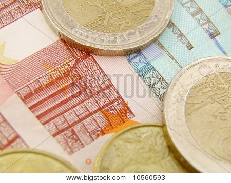 Euro Currency Banknotes And Coins