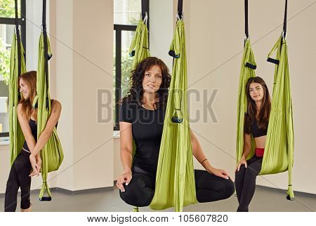woman anti-gravity aerial yoga portrait