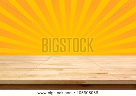 Wood Table Top On Yellow Sunburst (or Radiating) Background