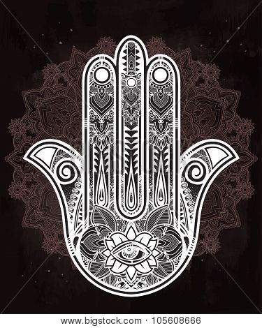 Ornate Hamsa Hand luck amulet.