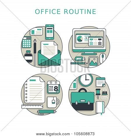 office routine concept in thin line style