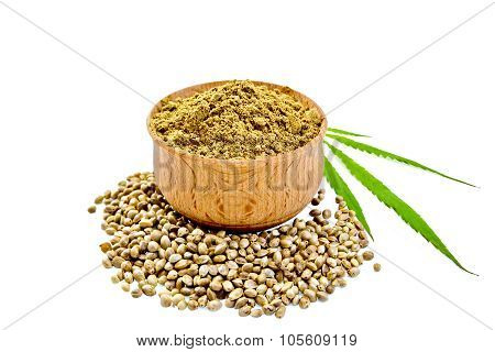 Flour Hemp In Bowl With Leaf And Grain