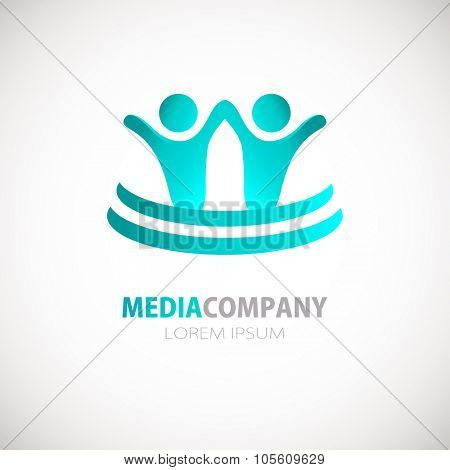 Abstract people logo, sign, icon. Blue people symbols. Two man holding hands concept.Vector concept for social network, team work, business company, partnership, friends, family and other