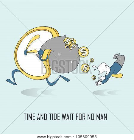 Time And Tide Wait For No Man Concept