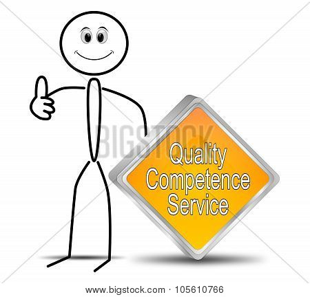 stick figure with Quality Competence Service button