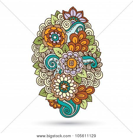 Ethnic floral zentangle, doodle background pattern.