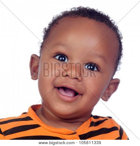 Adorable african baby smiling isolated on a white background