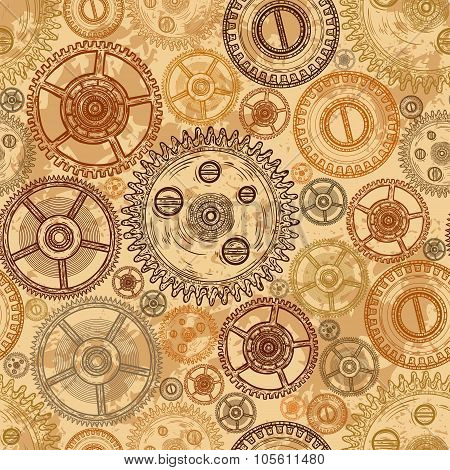 Vintage seamless pattern with gears of clockwork on aged paper background. Retro hand drawn vector i