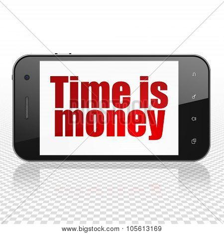 Business concept: Smartphone with Time is Money on display