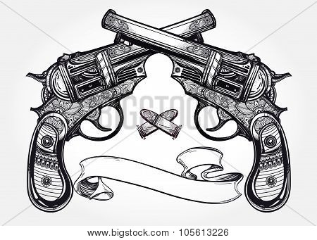 Vintage ornate pistol illustration.