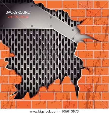 Vector Brick Wall Cracks, Metallic Grill Background For Text