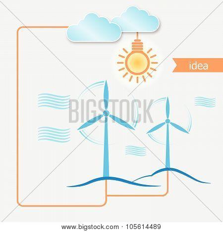 Wind Alternative Energy Generator Vector Background And Light Bulb