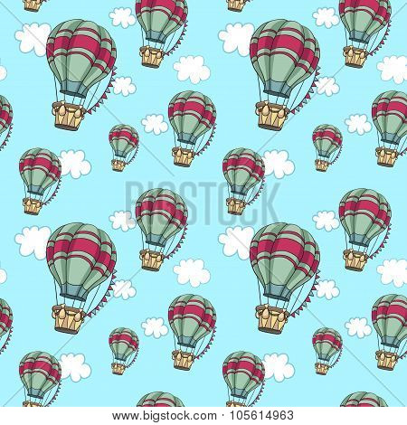Hot air balloons in the sky. Seamless travel pattern.