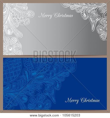 Set of horizontal invitation for congratulation with Christmas and New Year