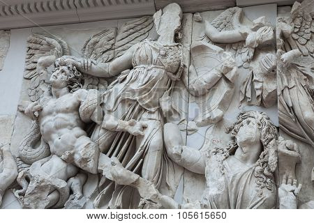 Detail Of The Frieze Of The Pergamon Altar In The Pergamon Museum In Berlin