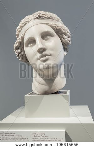 Head Of Singing Or Talking Dionysus In The Altes Museum, Berlin
