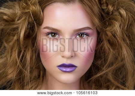 Beauty Portrait Of Young Girl With Fashion Podium Make-up