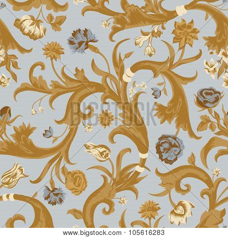 Seamless vector light vintage floral pattern in baroque style.