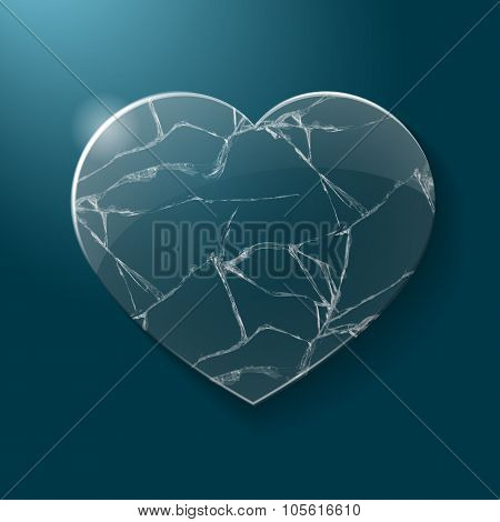 Broken heart made from glass
