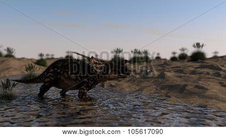 einiosaurus walking in water