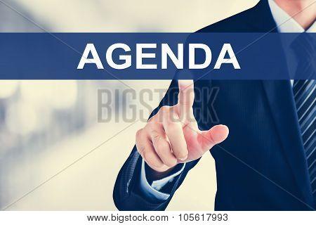 Businessman Hand Touching Agenda Tab On Virtual Screen