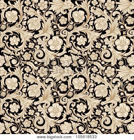 Vintage classic ornamental seamless vector pattern in baroque style.
