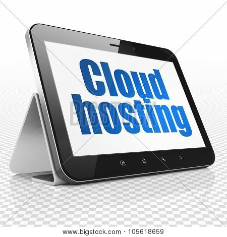 Cloud networking concept: Tablet Computer with Cloud Hosting on display