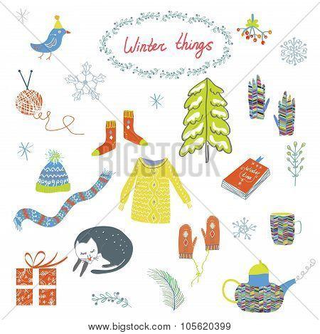 Winter And Christmas Symbols Set - Funny Design