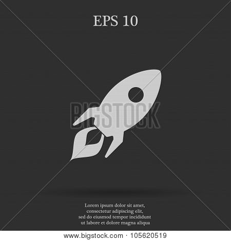 Rocket Icon  Flat Design Style
