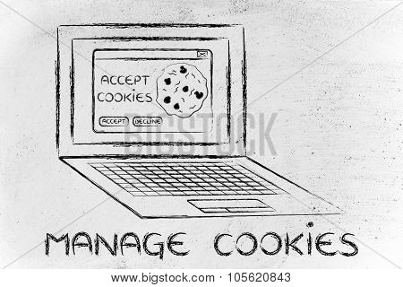 Laptop With Message About Cookies And Text About Managing Them