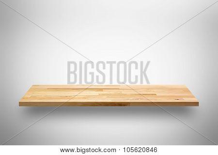 Empty Wooden Wall Shelf On Light Gray Background