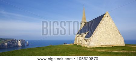 Panoramic View Of Church Notre Dame De La Garde Chapel And Etretat Aval Cliff