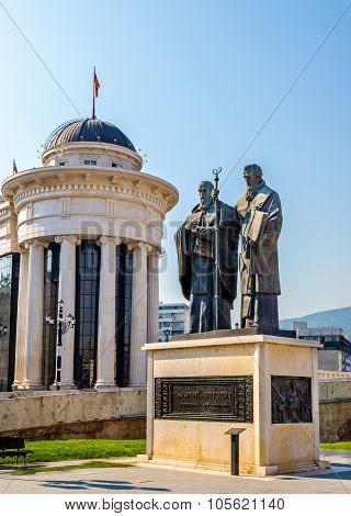 Monument Of St. Cyril And Methodius In Skopje - Macedonia