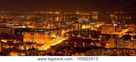 Nightlife Russia, The Evening City Of Saratov With Volga River, Panorama