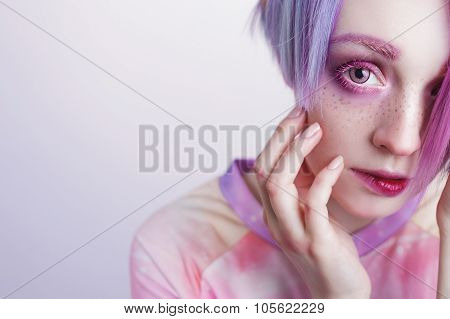 young girl with pink eyes and hair bit her lip, free space on the left