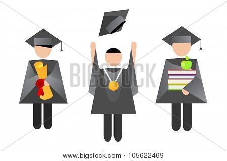 Education graduation people vector illustration. Graduation people silhouette. Graduation people abstract icons. Graduation hats vector. Graduation books, graduation people, graduation diploma