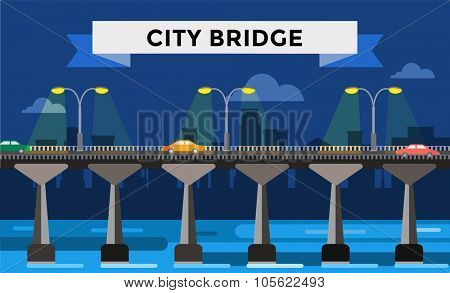 Modern bridge vector illustration. Vector bridge silhouette night city view. Outdoor travel background. Travel bridge vector construction. Bridge construction, fast river, travel, transportation