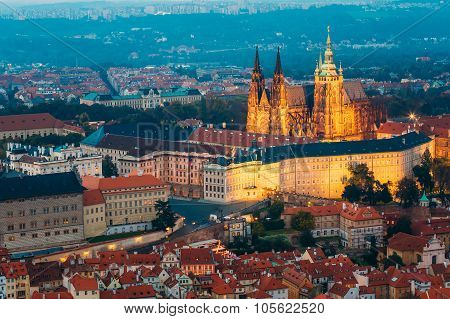 View of Prague, Czech Republic. Castle, St. Vitus Cathedral. Aer