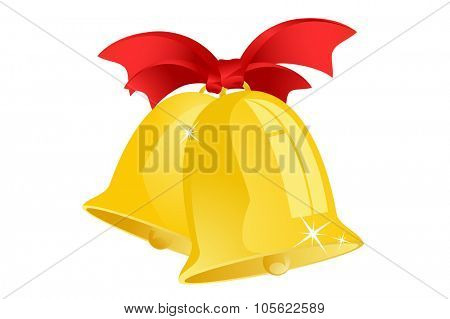 Jingle bells with red ribbon isolated on background. Christmas bell vector illustration. Christmas bells isolated. Christmas vector objects. Christmas yellow bell silhouette
