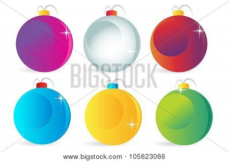 Colorful christmas balls vector icons set collection bundle. Set of isolated flat Christmas decorations. Vector New Year tree balls icons. New Year toys balls. Christmas toys balls icons isolated