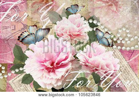 Congratulations Card With Peonies, Butterflies And Pearls.